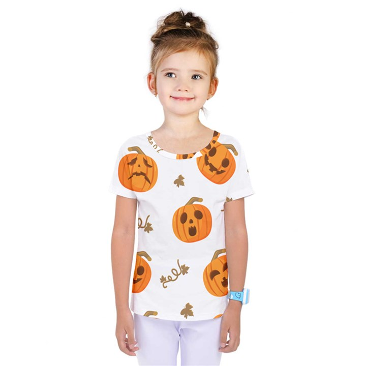 Funny Spooky Halloween Pumpkins Pattern White Orange Kids  One Piece Tee