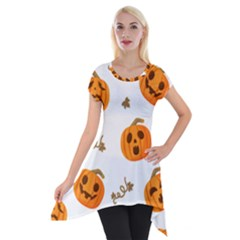 Funny Spooky Halloween Pumpkins Pattern White Orange Short Sleeve Side Drop Tunic