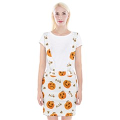 Funny Spooky Halloween Pumpkins Pattern White Orange Braces Suspender Skirt by HalloweenParty