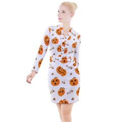 Funny Spooky Halloween Pumpkins Pattern White Orange Button Long Sleeve Dress