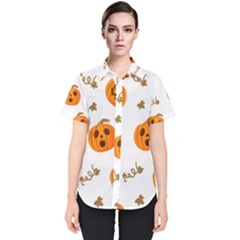 Funny Spooky Halloween Pumpkins Pattern White Orange Women s Short Sleeve Shirt