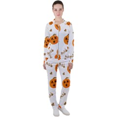 Funny Spooky Halloween Pumpkins Pattern White Orange Casual Jacket And Pants Set