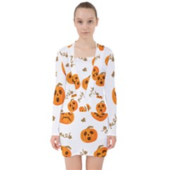 Funny Spooky Halloween Pumpkins Pattern White Orange V Neck Bodycon Long Sleeve Dress