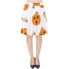 Funny Spooky Halloween Pumpkins Pattern White Orange Velvet High Waist Skirt