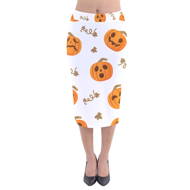 Funny Spooky Halloween Pumpkins Pattern White Orange Velvet Midi Pencil Skirt