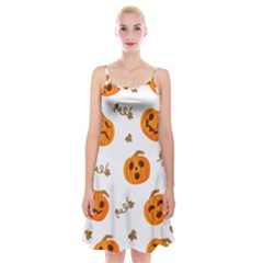 Funny Spooky Halloween Pumpkins Pattern White Orange Spaghetti Strap Velvet Dress