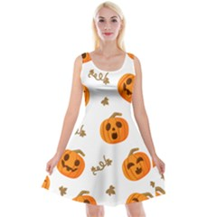 Funny Spooky Halloween Pumpkins Pattern White Orange Reversible Velvet Sleeveless Dress