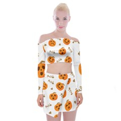 Funny Spooky Halloween Pumpkins Pattern White Orange Off Shoulder Top With Mini Skirt Set