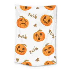 Funny Spooky Halloween Pumpkins Pattern White Orange Small Tapestry