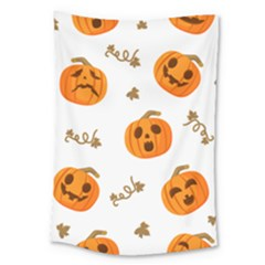 Funny Spooky Halloween Pumpkins Pattern White Orange Large Tapestry