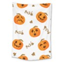 Funny Spooky Halloween Pumpkins Pattern White Orange Large Tapestry View1