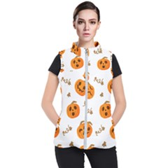 Funny Spooky Halloween Pumpkins Pattern White Orange Women s Puffer Vest