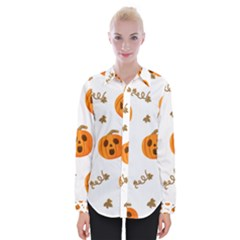 Funny Spooky Halloween Pumpkins Pattern White Orange Womens Long Sleeve Shirt