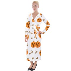 Funny Spooky Halloween Pumpkins Pattern White Orange Velvet Maxi Wrap Dress