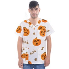 Funny Spooky Halloween Pumpkins Pattern White Orange Men s V Neck Scrub Top