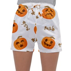 Funny Spooky Halloween Pumpkins Pattern White Orange Sleepwear Shorts