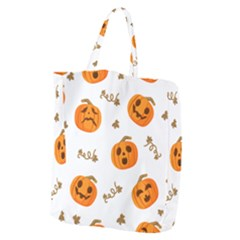 Funny Spooky Halloween Pumpkins Pattern White Orange Giant Grocery Tote by HalloweenParty