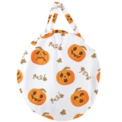 Funny Spooky Halloween Pumpkins Pattern White Orange Giant Round Zipper Tote