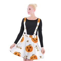 Funny Spooky Halloween Pumpkins Pattern White Orange Suspender Skater Skirt