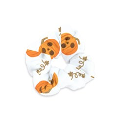 Funny Spooky Halloween Pumpkins Pattern White Orange Velvet Scrunchie