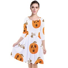 Funny Spooky Halloween Pumpkins Pattern White Orange Quarter Sleeve Waist Band Dress