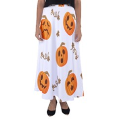 Funny Spooky Halloween Pumpkins Pattern White Orange Flared Maxi Skirt by HalloweenParty