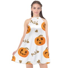 Funny Spooky Halloween Pumpkins Pattern White Orange Halter Neckline Chiffon Dress