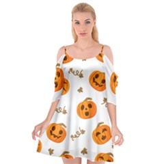 Funny Spooky Halloween Pumpkins Pattern White Orange Cutout Spaghetti Strap Chiffon Dress
