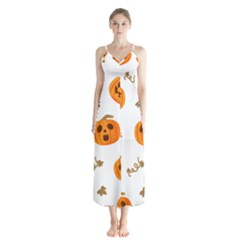 Funny Spooky Halloween Pumpkins Pattern White Orange Button Up Chiffon Maxi Dress