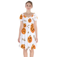 Funny Spooky Halloween Pumpkins Pattern White Orange Short Sleeve Bardot Dress