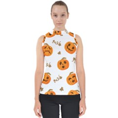 Funny Spooky Halloween Pumpkins Pattern White Orange Mock Neck Shell Top