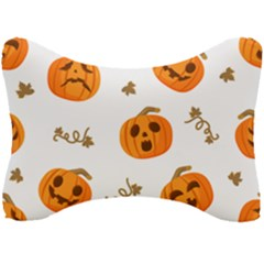 Funny Spooky Halloween Pumpkins Pattern White Orange Seat Head Rest Cushion