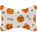 Funny Spooky Halloween Pumpkins Pattern White Orange Seat Head Rest Cushion View1