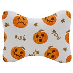 Funny Spooky Halloween Pumpkins Pattern White Orange Velour Seat Head Rest Cushion