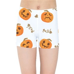 Funny Spooky Halloween Pumpkins Pattern White Orange Kids Sports Shorts