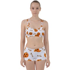 Funny Spooky Halloween Pumpkins Pattern White Orange Perfect Fit Gym Set