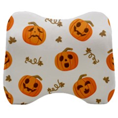 Funny Spooky Halloween Pumpkins Pattern White Orange Velour Head Support Cushion