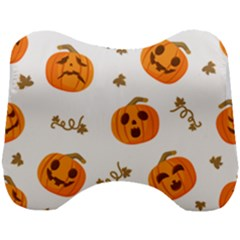 Funny Spooky Halloween Pumpkins Pattern White Orange Head Support Cushion