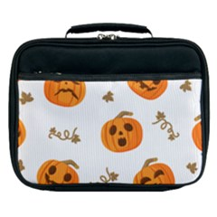 Funny Spooky Halloween Pumpkins Pattern White Orange Lunch Bag