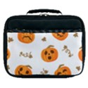 Funny Spooky Halloween Pumpkins Pattern White Orange Lunch Bag View1