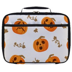 Funny Spooky Halloween Pumpkins Pattern White Orange Full Print Lunch Bag