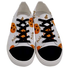 Funny Spooky Halloween Pumpkins Pattern White Orange Men s Low Top Canvas Sneakers