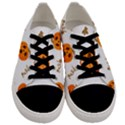 Funny Spooky Halloween Pumpkins Pattern White Orange Men s Low Top Canvas Sneakers View1