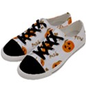 Funny Spooky Halloween Pumpkins Pattern White Orange Men s Low Top Canvas Sneakers View2
