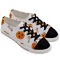 Funny Spooky Halloween Pumpkins Pattern White Orange Men s Low Top Canvas Sneakers View3