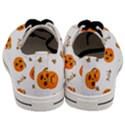 Funny Spooky Halloween Pumpkins Pattern White Orange Men s Low Top Canvas Sneakers View4