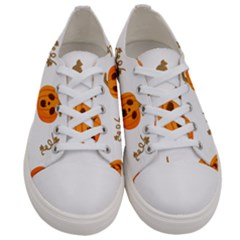 Funny Spooky Halloween Pumpkins Pattern White Orange Women s Low Top Canvas Sneakers