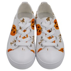 Funny Spooky Halloween Pumpkins Pattern White Orange Kids  Low Top Canvas Sneakers