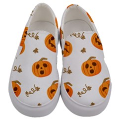 Funny Spooky Halloween Pumpkins Pattern White Orange Men s Canvas Slip Ons