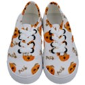 Funny Spooky Halloween Pumpkins Pattern White Orange Kids  Classic Low Top Sneakers View1